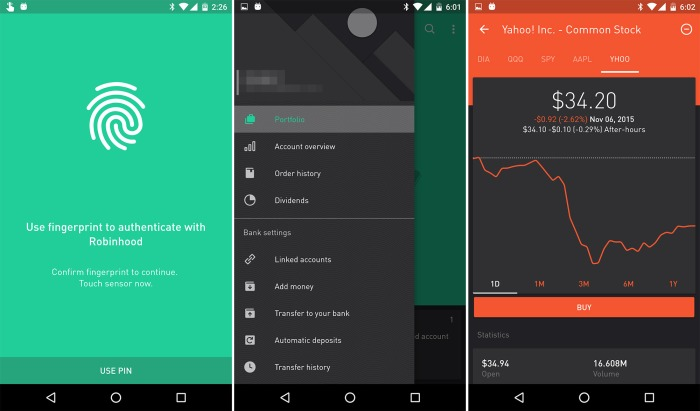 how does robinhood make money, robinhood app screen
