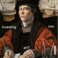 painting of a merchant investing into art